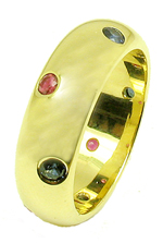 Jacques 18 Kt Yellow Gold Ruby and Sapphire Wedding Band