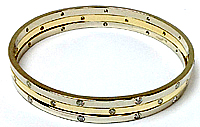 3 Connected Bangle Bracelet with Diamonds