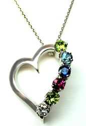 Jacques 18 Kt White Gold Open Heart Pendant with Gemstones