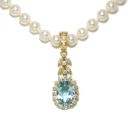 Jacques 18 Kt Yellow Gold Aquamarine and Diamond Clip-on Pearl Necklace