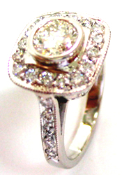 Jacques Platinum Ring with Pave Set Diamonds
