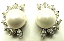 Jacques Platinum Diamond and Pearl Earrings