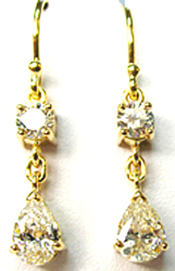 Jacques 18 Kt Yellow Gold Diamond Drop Earrings