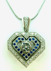 Jacques Heart Pendant with Sapphires and Diamonds