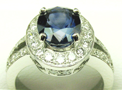 Jacques Platinum Sapphire and Diamond Ring