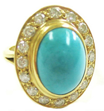 Jacques 18 Kt Yellow Gold Turquoise and Diamond Ring