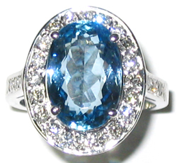 Jacques 18 Kt White Gold Aquamarine and Diamond Ring