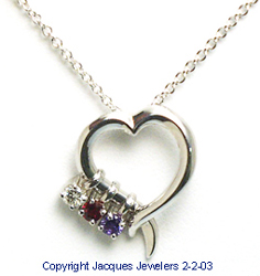 Jacques 18 Kt White Gold Open Heart Pendant with Birthstones