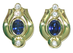 Jacques 18 Kt Yellow Gold Sapphire and Diamond Earrings
