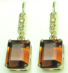 Jacques 14 Kt Yellow Gold Precious Topaz and Diamond Earrings