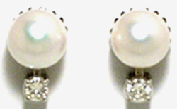 Jacques 18 Kt White gold Pearl and Diamond Earrings