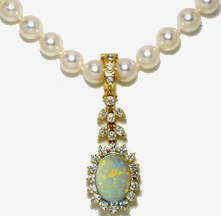 Jacques 18 Kt Yellow Gold Opal and Diamond Clip-on Pearl Necklace