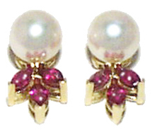 Jacques 18 Kt Yellow Gold Pearl and Ruby Earrings