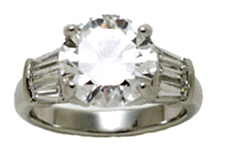 Jacques Platinum Diamond Engagement Ring with Baguettes on Sides