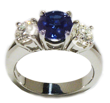 Jacques Platinum Sapphire and Diamond Engagement Ring